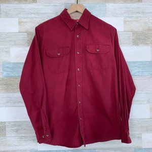 Wrangler Utility Button Front Shirt Red